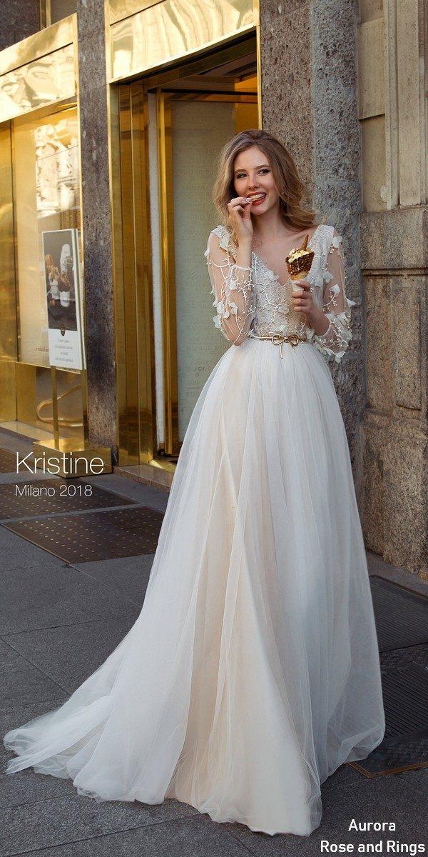 Bohemian lace long sleeves wedding dress KRISTINE