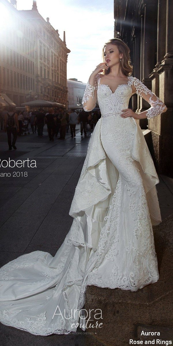 Long sleeve lace removable wedding dress ROBERTA