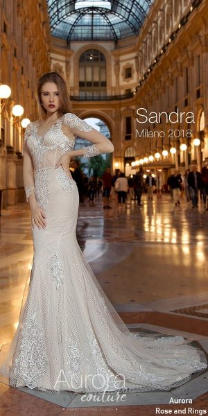 Long sleeve vintage lace wedding dress SANDRA