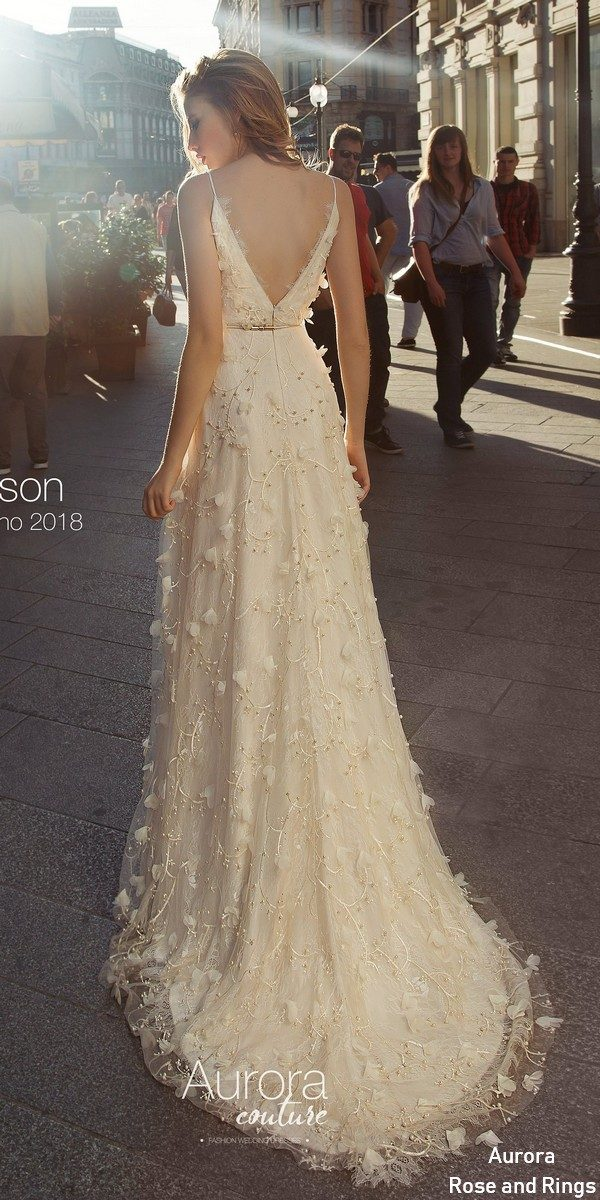 Simple v neck wedding dress ALISON