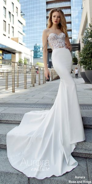 Strapless mermad lace wedding dress GIA