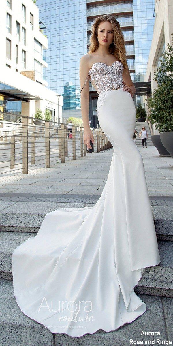 Strapless mermad lace wedding dress GIA