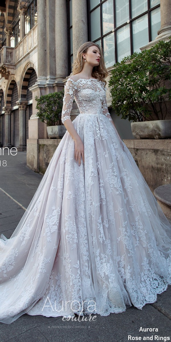 Lace Wedding Dress With Sleeves.Traditional Cinderella Long Sleeves Lace Wedding Dresses Lusanne