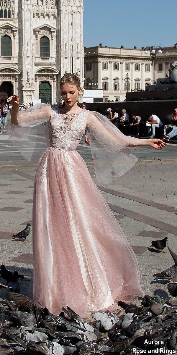 Vintage fairy blush long sleeves wedding dress LEYA
