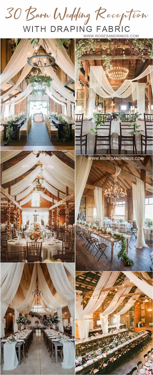 rustic country barn wedding ideas - barn wedding reception with draping fabric