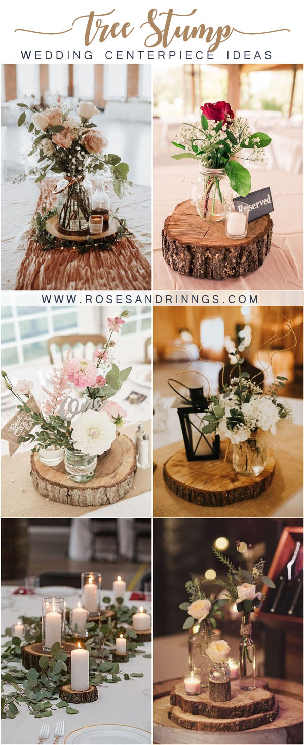 rustic tree stump wedding centerpieces