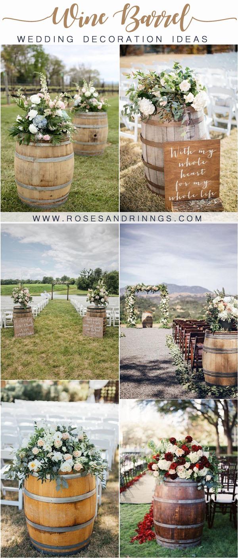 rustic country wine barrel wedding decor ideas