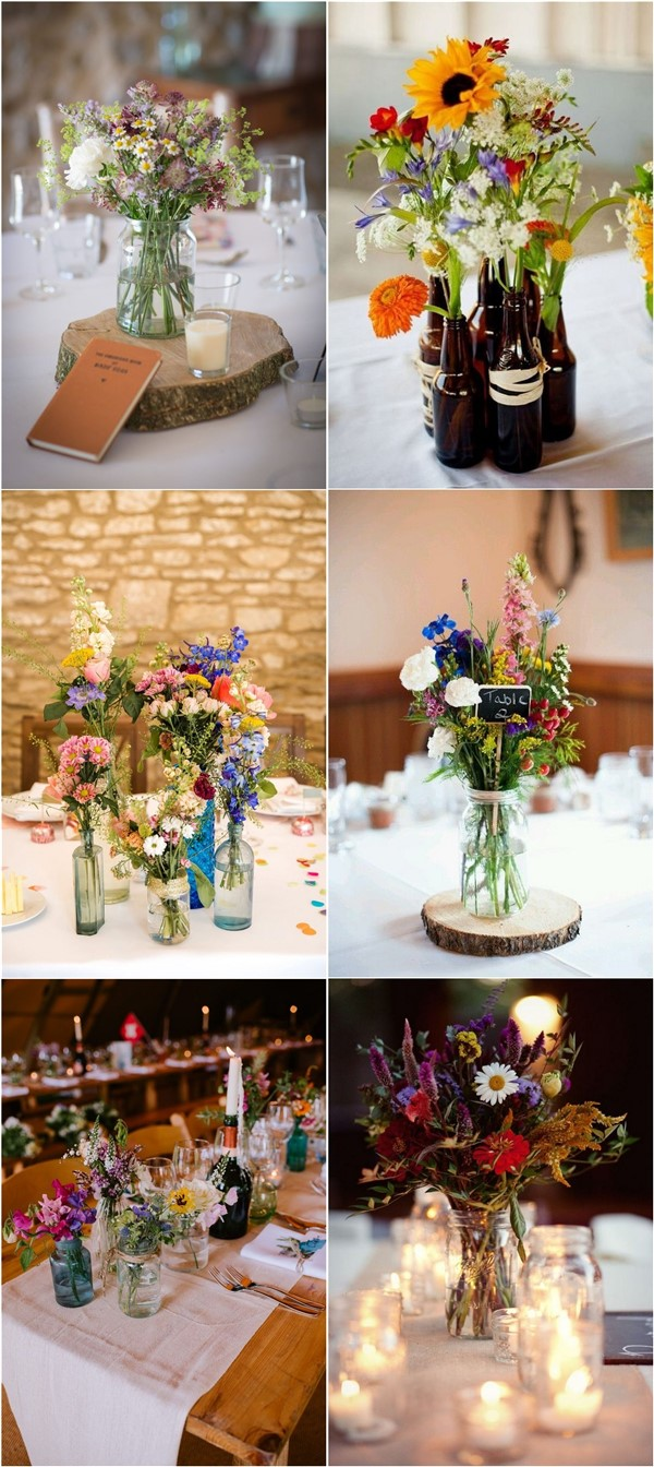 budget friendly colorful wildflower wedding centerpiece ideas