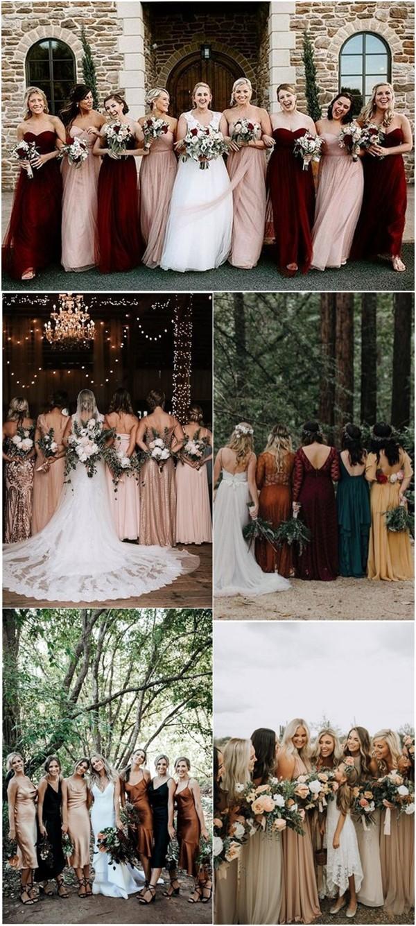 mismatched fall bridesmaid dresses