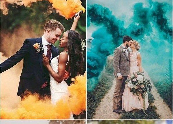 Colorful Smoke Bomb Wedding Photo Ideas 2