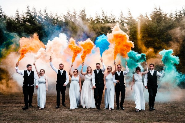 Colorful Smoke Bomb Wedding Photo Ideas 20