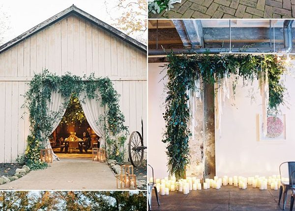 Greenery Wedding Ceremony Altar Ideas
