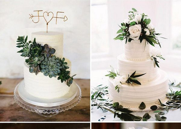 elegant white wedding cakes with greenery