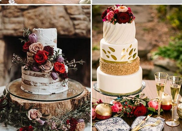 fall and autumn seasonal flower wedding cakes ideas