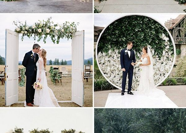 inspirational white and greenery wedding arch ideas
